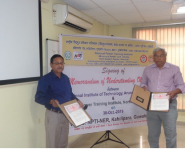 Signing of Memorundum of Understanding between National Institute of Technology, Arunachal Pradesh  & NPTI -NER on 30-Oct.-2019