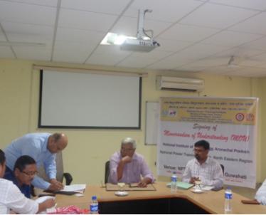 Signing of Memorandum of Understanding between National Institute of Technology, Arunachal Pradesh  & NPTI-NER in presence of Director NIT Arunachal Pradesh & Principal Director, NPTI NER along with faculty of NPTI-NER on 30-October-2019.