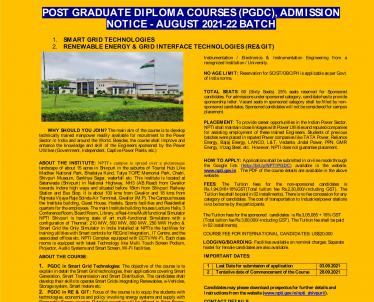 dmission Notice for One year Post Graduate Diploma Courses, Session 2021-22 with revised date